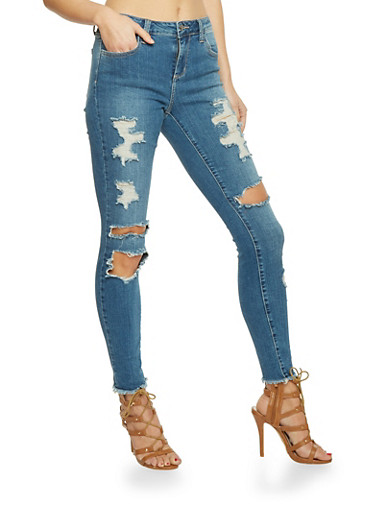 Cello Destroyed Skinny Jeans,MEDIUM WASH,large