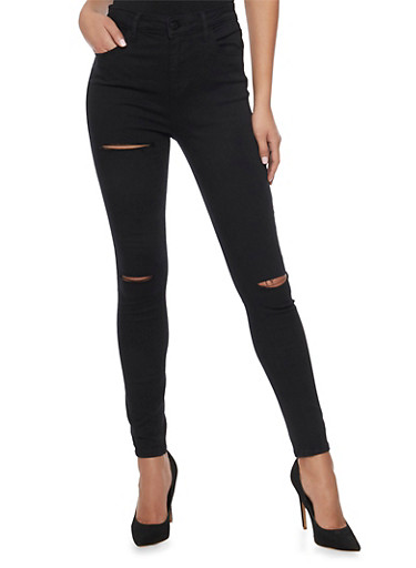 Cello Solid Ripped Skinny Jeans,BLACK,large
