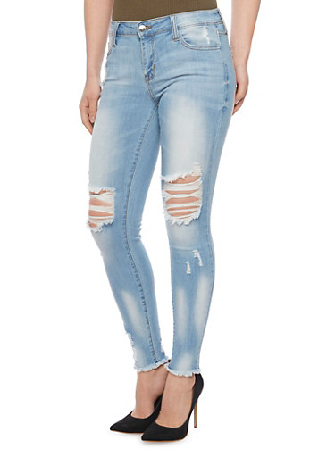 Cello Frayed and Destroyed Skinny Jeans,LIGHT WASH,large