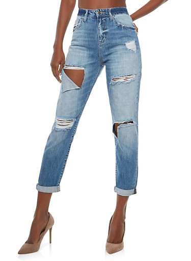Cello High Waisted Ripped Jeans,MEDIUM WASH,large