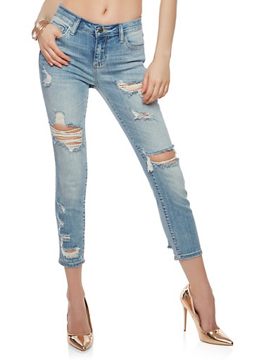 Cello Destroyed Skinny Jeans,LIGHT WASH,large
