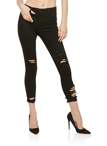 Cello Distressed Cropped Skinny Jeans,BLACK,large