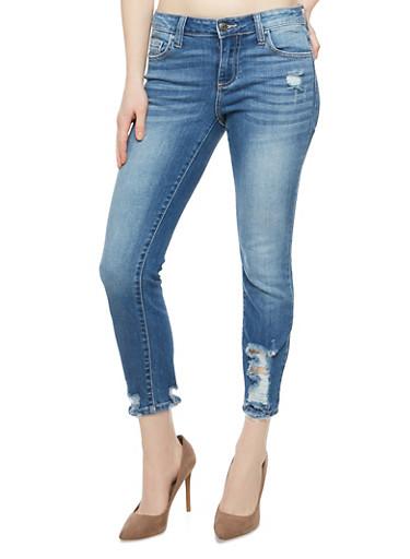 Cello Destroyed Bottom Jeans,MEDIUM WASH,large