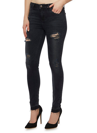 Cello Distressed Skinny Jeans with Unfinished Hems,BLACK,large