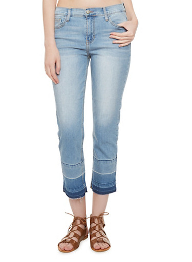 Cropped Straight Leg Jeans with Released Hem,MEDIUM WASH,large