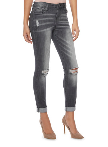 Cello Jeans with Distressed Front,GRAY,large