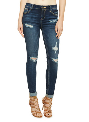 Cello Distressed Skinny Jeans,DARK WASH,large