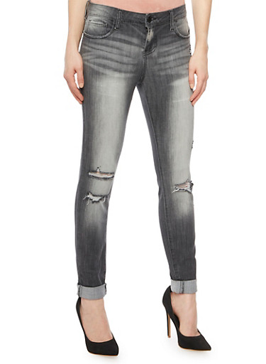Cello Distressed Skinny Jeans in Faded Wash,GRAY,large
