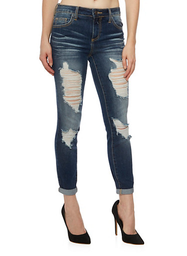 Cello Jeans with Distressed Front,DARK WASH,large