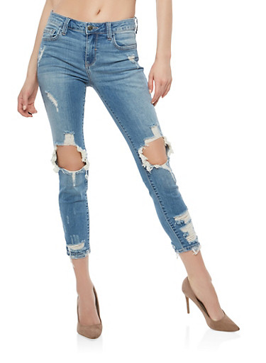 Cello Light Wash Ripped Knee Jeans,LIGHT WASH,large