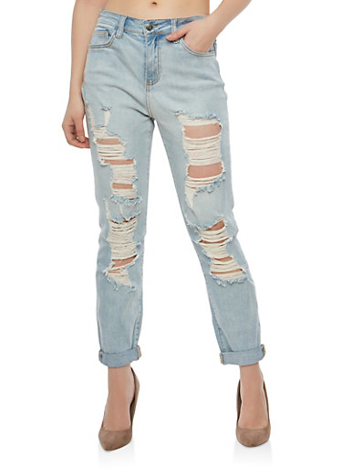 Cello Destroyed Mom Jeans,MEDIUM WASH,large