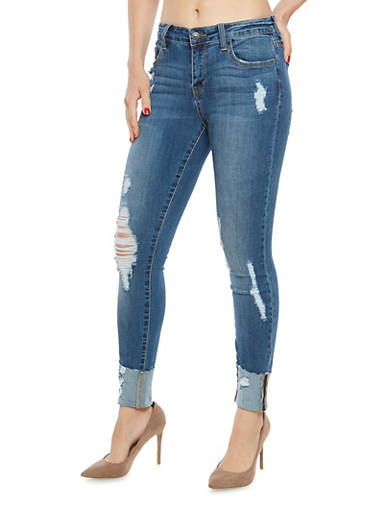 Cello Distressed Cuffed Skinny Jeans,MEDIUM WASH,large