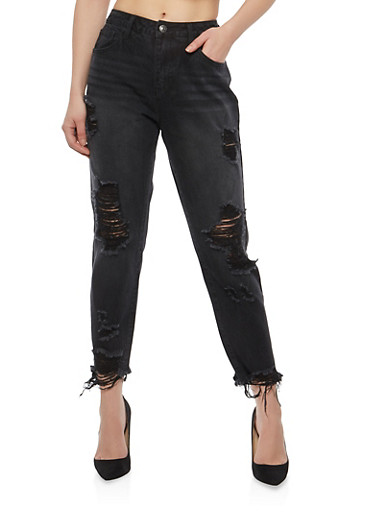 Cello Destroyed Raw Hem Boyfriend Jeans,BLACK,large