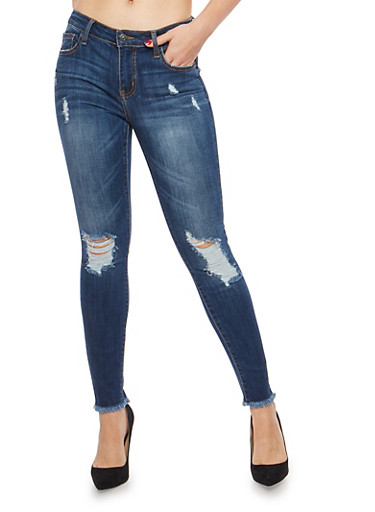 Cello Raw Hem Cropped Skinny Jeans,MEDIUM WASH,large