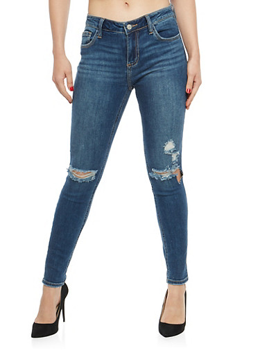 Cello Ripped Knees Skinny Jeans,MEDIUM WASH,large