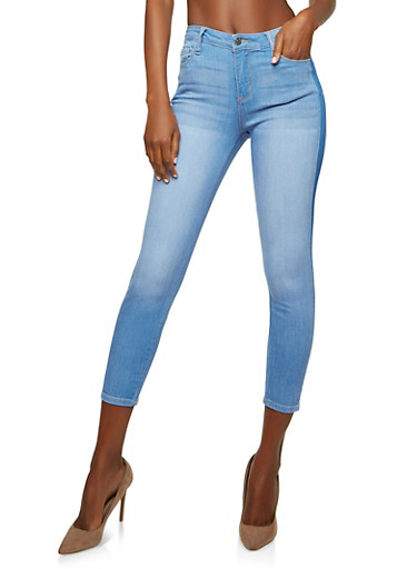 Cello Two Tone Skinny Jeans,BLUE,large