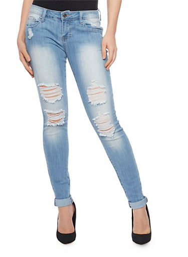 Cello Skinny Jeans with Rolled Cuffs,LIGHT WASH,large