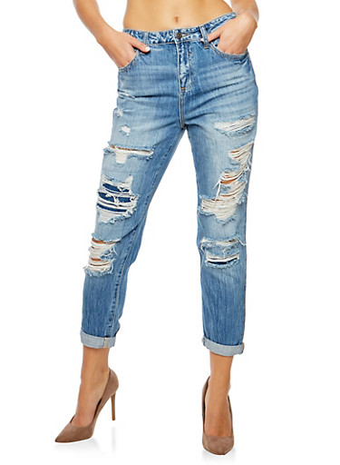 Cello Destroyed Rolled Cuff Jeans,MEDIUM WASH,large