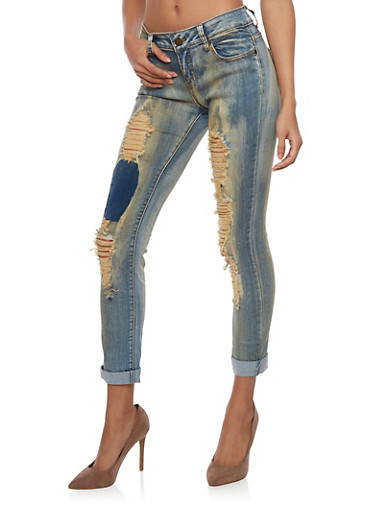 Skinny Jeans with Rip and Repair Details,MEDIUM WASH,large