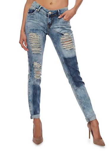 Distressed Skinny Jeans in Acid Wash,MEDIUM WASH,large