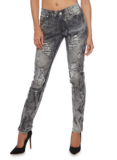 Ripped Frayed Hem Skinny Jeans with Tie Dye Wash,BLACK,large