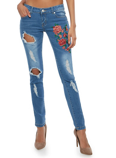 Distressed Skinny Jeans with Floral Applique,MEDIUM WASH,large