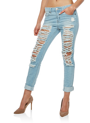 VIP Destroyed Boyfriend Jeans,LIGHT WASH,large