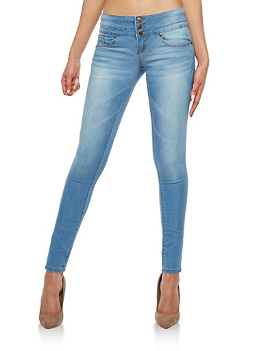 VIP 3 Button High Waisted Whisker Wash Skinny Jeans,MEDIUM WASH,large