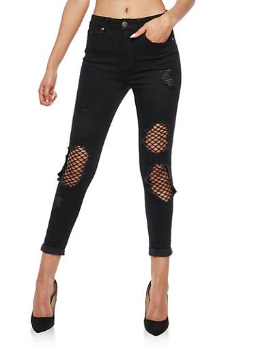 VIP Ripped Fishnet Insert Skinny Jeans,BLACK,large