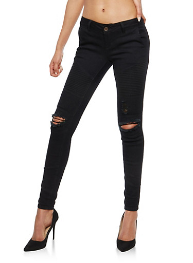 VIP Black Distressed Moto Jeans,BLACK,large