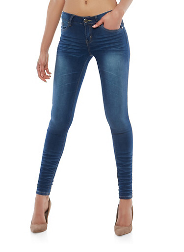 VIP Whisker Wash Skinny Jeans,DARK WASH,large