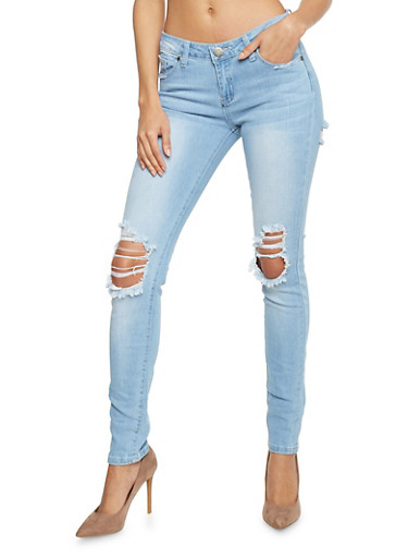 VIP 5 Pocket Ripped Skinny Jeans,MEDIUM WASH,large