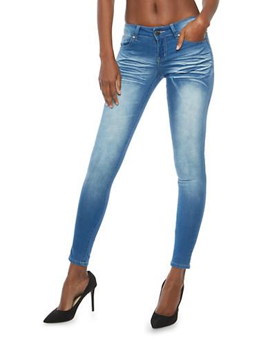 VIP Push Up Whisker Wash Skinny Jeans,MEDIUM WASH,large