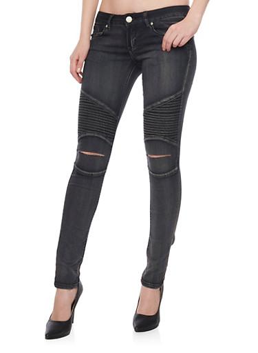 VIP Moto Skinny Jeans with Slashed Knees,BLACK,large