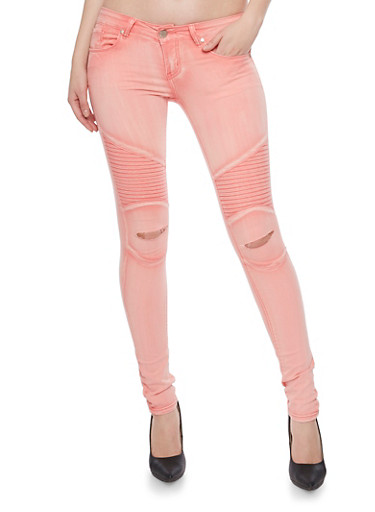 VIP Moto Skinny Jeans with Ripped Knees,ORANGE,large