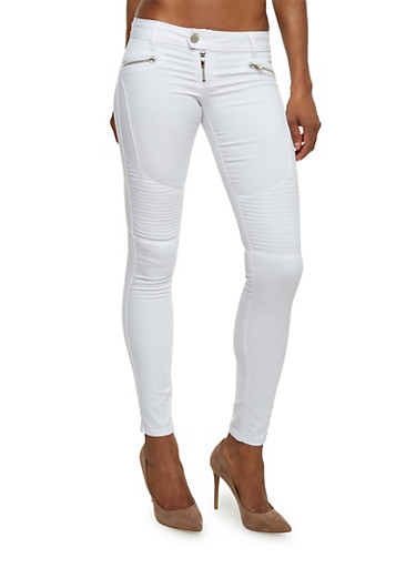 Skinny Moto Jeans,WHITE,large