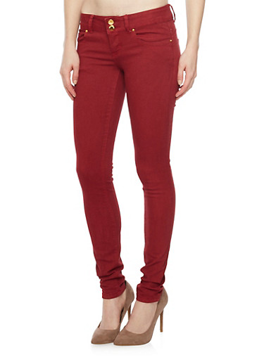 VIP Skinny Push Up Jeans with Double Buttons,BURGUNDY,large