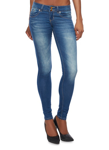 VIP Skinny Jeans with 2 Button High Waist,MEDIUM WASH,large