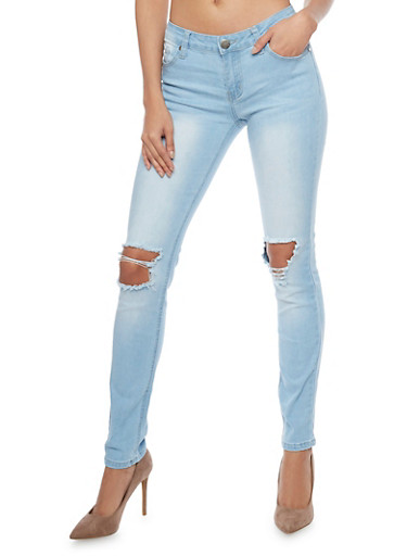VIP Ripped Knee Skinny Jeans,LIGHT WASH,large