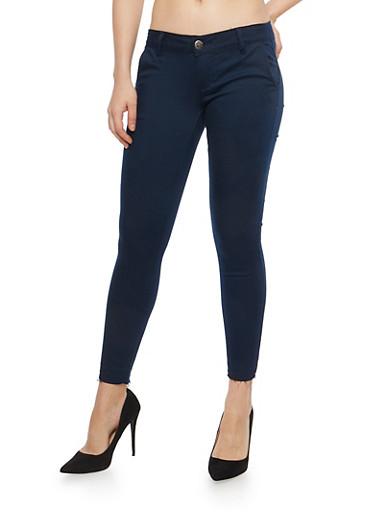 VIP Raw Hem Skinny Stretch Pants,NAVY,large