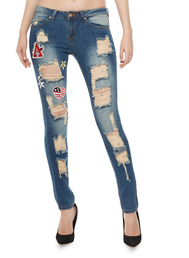 Distressed Skinny Jeans with Assorted Patches,DARK WASH,large