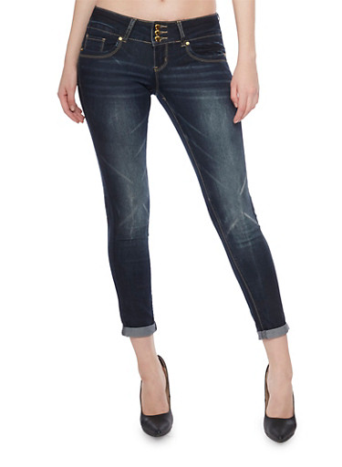 VIP High Waisted Push Up Skinny Jeans with Faded Details,BLUE BLACK,large