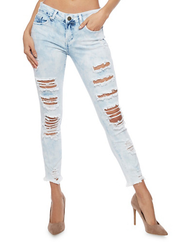VIP Frayed Hem Cropped Acid Wash Jeans,LIGHT WASH,large