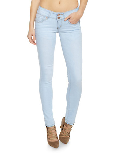 VIP Double Button Low Rise Skinny Jeans,LIGHT WASH,large