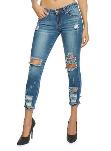 Cropped and Destroyed Skinny Jeans,MEDIUM WASH,large