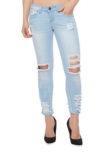 VIP Light Wash Destroyed Skinny Jeans,LIGHT WASH,large