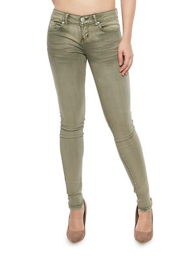 VIP Whisker Wash Skinny Jeans,OLIVE,large
