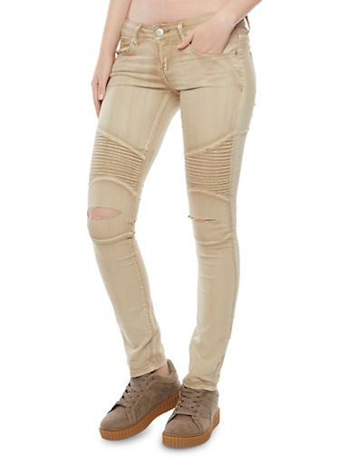 Moto Jeans with Slash Cut Knees,KHAKI,large