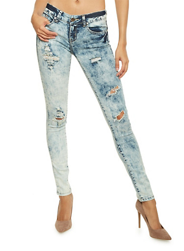 VIP Distressed Skinny Jeans in Acid Wash,LIGHT WASH,large