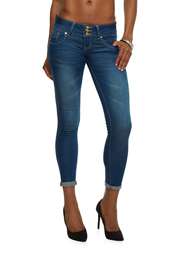 VIP Skinny Jeans with Triple Buttons,MEDIUM WASH,large